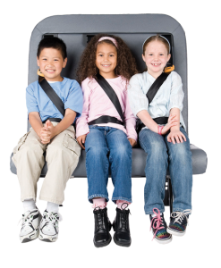 Three young students are buckled up on the SafeGuard FlexSeat.