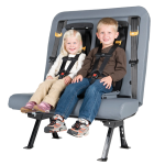 Two young children are buckled up in their 5-point harnesses on a SafeGuard ICS (Integrated Child Seat).