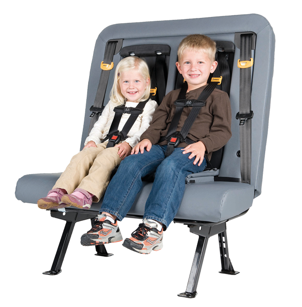 Two Young Children Are Buckled Up In Their 5 Point Harnesses On A SafeGuard ICS Integrated Child Seat